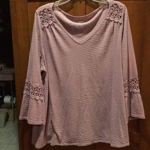 Sonoma lavender long sleeve with lace insert. 1x
